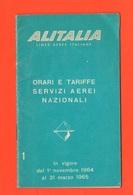 Alitalia Orari & Tariffe 1964 Libretto Aerei Avion Flight - Europe
