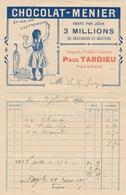 BELLE FACTURE CHOCOLAT MENIER - CACAO - Pub Tardieu Fayence - Datée De Septembre 1914 - Alimentaire