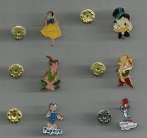 PERSONNAGE DISNEY PETER PAN PICSOU POPEY WOODY WOODPECKER LOT DE 6 PINS ATTENTION REFLET AVEC SCAN PINS EN TRES BON ETAT - Badges