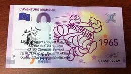63 CLERMONT FERRAND L'AVENTURE MICHELIN N°4 BILLET ZERO EURO SOUVENIR AVEC TIMBRE 2018 BANKNOTE BANK NOTE PAPER MONNAIE - EURO