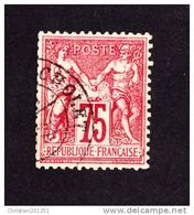 France N° 71 SAGE Type I 75 C Carmin - 1876-1878 Sage (Type I)