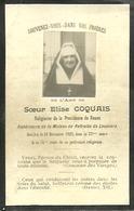 AVIS DE DECES...SOEUR ELISE COQUAIS DE ROUEN...1923...11.5 X 7.5 - Religion & Esotericism