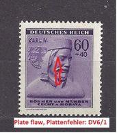 Bohemia & Moravia Böhmen Und Mähren 1943 MNH ** Mi 114 Sc B15 Karel IV. Winter Relief. Winterhilfswerk. Plate Flaw DV6. - Neufs