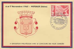 FRANCE - CP 5e EXPO PHILATELIQUES VILLES JUMELEES  - OBLITERATION 6-7.11.1965 PUTEAUX 92 /1 - Francia