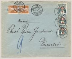 Schweiz - 1919 - 3x 3c Portomarke In Strip On Taxed Cover From  Veltheim To Dürnten - Strafportzegels