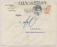Schweiz - 1918 - 10c Portomarke On Censored Taxed Cover From  Genova To Lugano - Strafportzegels