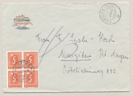 Schweiz - 1941 - 4x 5c Portomarke In Block On Unfranked Cover From Fürigen To Menziken - Strafportzegels