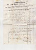 75 Ets Des Eaux Minerales Artificielles De Planche,Boulay Etc Rue  Université Gros Caillou N°153,Facture De 1835 Avec Ca - France