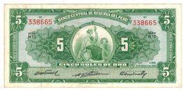 PERU 5 Soles De Oro, 1958, W & S Note, XF. - Peru