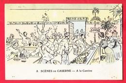 Illustrateur JARRY Humour Militariat Scènes De Caserne 8 à La Cantine - Autres Illustrateurs