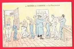 Illustrateur JARRY Humour Militariat Scènes De Caserne 4 La Vaccination - Autres Illustrateurs
