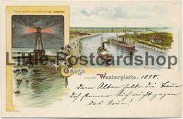 AK Gruss Von Der Westerplatte 1898 Leuchtthurm Hafeneinfahrt Leuchtturm - Danzig