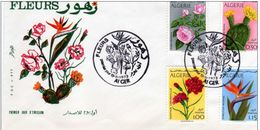 FDC ALGERIE 1973 ENVELOPPE 1er JOUR, Fleurs Dont Cactus Rose... - Algeria (1962-...)