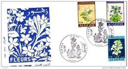 FDC ALGERIE FLEURS - FLOWERS  JASMIN - VIOLETTE - BULBEUSE  Yvt N°551/553 - - Algeria (1962-...)