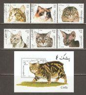 Afghanistan 1997 Mi# 1726-1731, Block 94 Used - Cats - Gatos Domésticos
