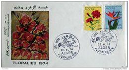 FDC Algerie Alger 1974 ENVELOPPE 1er JOUR, Floralies 1974... - Algeria (1962-...)