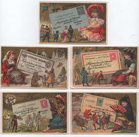 5 Chromos à Fonds Dorés/Hygiéne/Royal Windsor/ Régénérateur De Cheveux/Rue Echiquier/Paris/Vers1890  IMA405 - Cromo
