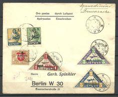 LITAUEN Lithuania 1922  Flugpost Brief Nach Deutschland Air Mail Cover To Berlin Signed - Litauen