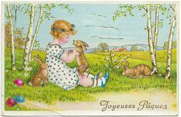 Joyeuses Paques - Small Girl Rabbits Eggs Gilding - AMAG - Easter
