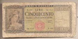 "Italia - Banconota Circolata Da 500 Lire ""Medusa"" P-80a.2 - 1948 - [ 2] 1946-… : Républic"