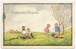 Joyeuses Paques - Children Finding Eggs - B R - 1930's - Easter