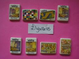 Série Complète De 8 Fèves Publicitaires - WAIDA REIMS - ART NOUVEAU - CLAMECY 2008 ( Feve Miniature ) RARE - Regions
