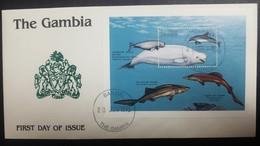 O) 1995 GAMBIA, MARINE LIFE-DOLPHIN-FALSE CAT SHRK-SIX GILLED, FDC XF, - Gambia (1965-...)