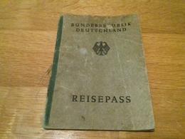 1951 Germany Reisepass Passport Reisepass - Visas: France, Belgium, Denmark Border Stamps - Revenues - Historical Documents