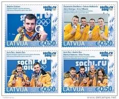 Latvia 2014 Mih. 909/12 Olympic Winter Games In Sochi. Latvian Olympic Medalists MNH ** - Latvia