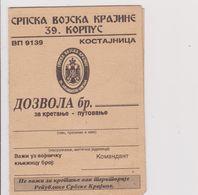 CROATIA  /  REPUBLIKA SRPSKA KRAJINA  -  SRPSKA VOJSKA KRAJINE  -   KOSTAJNICA  /  MILITARY PERMIT - Documents