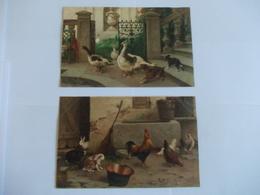 Lot De 2 Cartes Illustration D'animaux De Ferme Oie Poule Coq - Cartoline