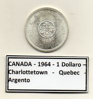 Canada - 1964 - 1 Dollaro - Charlottetown - Quebec - Argento - (MW1174) - Canada