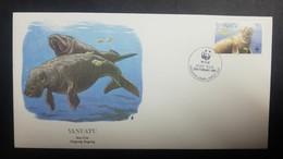O) 1988 VANUATU, WWF-WORLD WILDLIFE FUN, MANATEE-SEA COW ADULT, SCOTT A87, FDC XF - Vanuatu (1980-...)