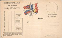 Carte De Correpondance Militaire En Franchise - Drapeaux - Marcophilie (Lettres)