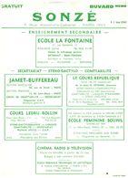 E S/ Buvard Sonzé Ecole  (Format  22 X 16)   (N= 1) - Buvards, Protège-cahiers Illustrés