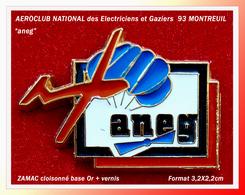 SUPER PIN'S EDF-GDF-AVIATION : L'aneg, AEROCLUB NATIONAL Des ELECTRICIENS Et GAZIERS à MONTREUIL, En Zamac Cloisonné Or - EDF GDF