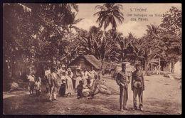 S.TOMÉ E PRINCIPE - S.Thomé - Um Butuque Na Villa Dos Neves (com 2 Militares). Old Postcard AFRICA - Sao Tome En Principe