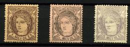2106- España Nº 102a, 103 Y 106 - 1868-70 Gobierno Provisional