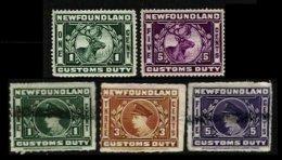 CANADA, Newfoundland, B&H 1/5, */o M/U, F/VF, Cat. £ 7 - Fiscaux