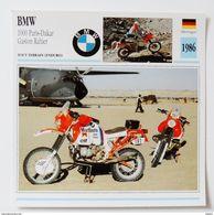 Fiche Technique MOTO Allemagne 1986 BMW 1000 Paris Dakar Gaston Rahier - Motor Bikes