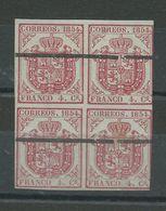 Edifil 33A--bloque De 4 Procedente Hoja Muestra - 1850-68 Reino: Isabel II