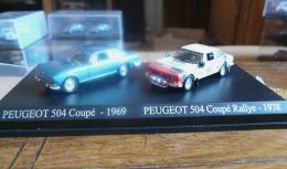 PEUGEOT 504 COUPE 1969 & 504 COUPE RALLYE 1978 DUO METAL UNIVERSAL HOBBIES  ATLAS ECH 1/87 HO 2 SCAN - Scale 1:87