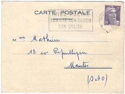 FRANCIA - France - 1954 - 5F Marianne De Gandon + Flamme - Carte Postale - Chartone, Avis De Passage - Viaggiata Da Trie - 1945-54 Maríanne De Gandon