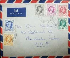O) 1958 RHODESIA, QUEEN ELIZABETH II, SCOTT A14, FULL SET, COVER TO USA, XF - Stamps