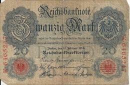 ALLEMAGNE 20 MARK 1914 VG+ P 46 - [ 2] 1871-1918 : German Empire