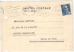FRANCIA - France - 1948 - 5F Marianne De Gandon - Carte Postale - Tissage De L'Aigle M.Cirouge - Viaggiata Da Grenoble P - 1945-54 Maríanne De Gandon