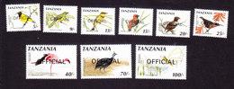 Tanzania, Scott #O37-O42, O43-O45, Mint Hinged, Birds Overprinted, Issued 1990 - Tanzania (1964-...)