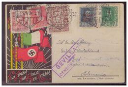 Dt-Reich (005638) Propagandakarte Spanien, Italien, Deutschland Gelaufen Mit Sevilla Censur Am 2.11.1938, Karte 2 Wahl - Allemagne