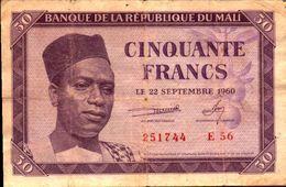 MALI 50 FRANCS Du 22-9-1960  Pick 1 - Mali