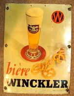 PLAQUE EN TOLE BIERE W WINCKLER - OBER PUBLICITE LYON - Liquor & Beer